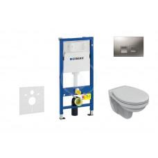 Geberit Sada pro závěsné WC + klozet a sedátko Ideal Standard Quarzo - sada s tlačítkem Delta50, matný chrom 458.103.00.1 NR6