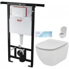 ALCAPLAST - SET Jádromodul - předstěnový instalační systém + WC TESI se sedátkem SoftClose, AquaBlade (AM102/1120 X TE1)
