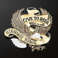 Emblém samolepící: Highway Hawk LIVE TO RIDE zlatý, 40mm - Zlatá - Highway Hawk HWH 01-560