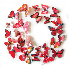 Barevní 3D Motýlci Červení