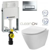 GEBERIT - SET GEBERIT - KOMBIFIXBasic včetně ovládacího tlačítka DELTA 51 CR pro závěsné WC CITY CLEAN ON + SEDÁTKO (110.100.00.1 51CR CI1)