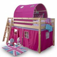 Dětská patrová postel Indigo růžová - TempoKondela
