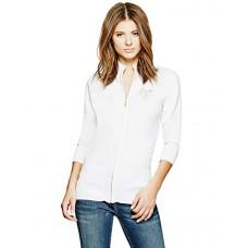 GUESS svetr London Zip Sweater bílý vel. M