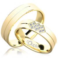 Zlato Snubní prsten Couple Palm ze žlutého zlata