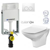 GEBERIT - SET KOMBIFIXBasic včetně ovládacího tlačítka DELTA 21 Bílé pro závěsné WC CERSANIT CLEANON CARINA + SEDÁTKO (110.100.00.1 21BI CA3)