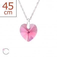 OLIVIE - Stříbrný řetízek s přívěskem SRDCE ROSE se Swarovski krystalem 0129