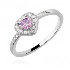 OLIVIE Stříbrný prsten RŮŽOVÉ SRDCE 2401 Velikost prstenů: 7 (EU: 54 - 56)