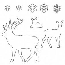 Patchwork - Jeleni a sněhové vločky sada (Stag and Snowflake set)