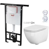 ALCAPLAST - SET Jádromodul - předstěnový instalační systém + WC CERSANIT CLEANON CASPIA + SEDÁTKO (AM102/1120 X CP1)
