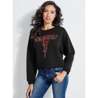 GUESS mikina Makenzie Sequin Logo Sweatshirt černá vel. M