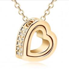 Zlatý náhrdelník Dvojité srdce - 3 barvy Barva: Bílý