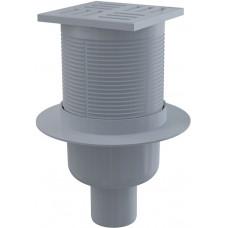 Alcaplast podlahová vpust 105 × 105/50 přímá, mřížka šedá, vodní zápachová uzávěra (APV6111)