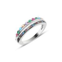 OLIVIE Stříbrný prsten COLORS 2545 Velikost prstenů: 8 (EU: 57 - 58)