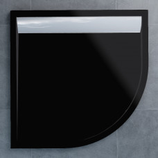 SanSwiss WIR 55 090 50 154 Sprchová vanička čtvrtkruhová 90 cm černá, kryt aluchrom, skládá se z WIR 55 090 154 a BWI 090 50 154