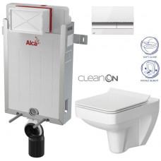 ALCAPLAST - SET Renovmodul - předstěnový instalační systém + tlačítko M1720-1 + WC CERSANIT CLEANON SPLENDOUR + SEDÁTKO (AM115/1000 M1720-1 SP1)