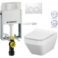 GEBERIT - SET KOMBIFIXBasic včetně ovládacího tlačítka DELTA 21 Bílé pro závěsné WC CERSANIT CLEANON CREA ČTVEREC + SEDÁTKO (110.100.00.1 21BI CR2)
