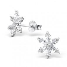 OLIVIE Stříbrné náušnice SNĚHOVÁ VLOČKA CZ Crystal 0705