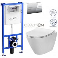LAUFEN - Rámový podomítkový modul CW1 SET + ovládací tlačítko CHROM + WC CERSANIT CITY CLEANON + SEDÁTKO (H8946600000001CR CI1)