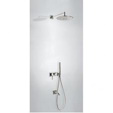 TRES - Vestavěná jednopáková baterie 3V Včetně podomítkového tělesa (3-cestná) Pevná sprcha O 300 mm. s kloubem. Materiál M (21027313AC)