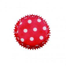 Košíčky papírové Červené + bílé puntíky v.20xpr.30mm; 100 ks