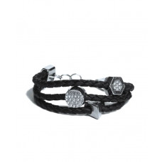 GUESS náramek Braided Logo Charm Bracelet černý vel. P2727028825A