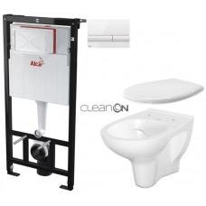 ALCAPLAST - SET Sádromodul - předstěnový instalační systém + tlačítko M1710 + WC CERSANIT ARTECO CLEANON + SEDÁTKO (AM101/1120 M1710 AT2)