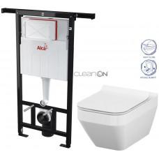ALCAPLAST - SET Jádromodul - předstěnový instalační systém + WC CERSANIT CLEANON CREA ČTVEREC + SEDÁTKO (AM102/1120 X CR2)