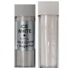 Sugarflair Jedlá prachová perleťová barva Ice white (Ledové bílá), 2g