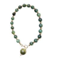 OLIVIE Smaragdový stříbrný náramek pozlacený 4455