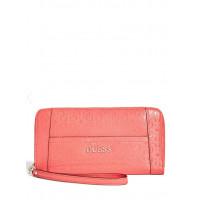 GUESS peněženka Delaney Logo-Embossed Zip Around červená vel.