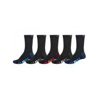 Globe MULTI STRIPE CREW 5P black moderní barevné pánské ponožky - 7-11