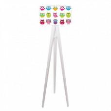 Timberlight Dětská stojací lampa Rainbow Owls + bílý vnitřek + bílé nohy