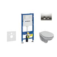 Geberit Sada pro závěsné WC + klozet a sedátko Ideal Standard Quarzo - sada s tlačítkem Delta21, chrom 458.103.00.1 NR2