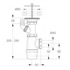 Ideal Standard Sifon vč. krytky odpadu, chrom D5870AA