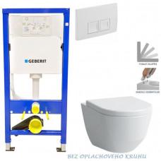 GEBERIT - SET Duofix Sada pro závěsné WC 458.103.00.1 + tlačítko DELTA50 bílé + WC LAUFEN PRO RIMLESS + SEDÁTKO (458.103.00.1 50BI LP1)