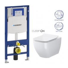 GEBERIT - SET Duofix pro závěsné WC 111.300.00.5 bez ovládací desky + WC OPOCZNO METROPOLITAN CLEANON + Sedátko (111.300.00.5 ME1)
