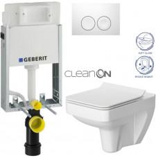 GEBERIT - SET KOMBIFIXBasic včetně ovládacího tlačítka DELTA 21 Bílé pro závěsné WC CERSANIT CLEANON SPLENDOUR + SEDÁTKO (110.100.00.1 21BI SP1)