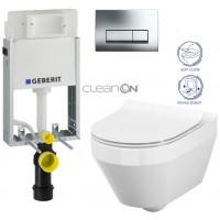 GEBERIT - SET GEBERIT - KOMBIFIXBasic včetně ovládacího tlačítka DELTA 51 CR pro závěsné WC CREA OVÁL CLEAN ON + SEDÁTKO (110.100.00.1 51CR CR1)