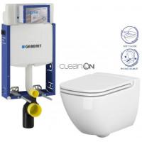 GEBERIT - SET Kombifix KOMBIFIX ECO pro závěsné WC, nádržka UP 320 bez Ovládací desky + WC CERSANIT CASPIA CLEANON + SEDÁTKO (110.302.00.5 CP1)