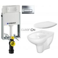GEBERIT - SET KOMBIFIXBasic včetně ovládacího tlačítka DELTA 51 CR pro závěsné WC CERSANIT ARTECO CLEANON + SEDÁTKO (110.100.00.1 51CR AT2)