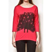 Vehicle PEACOCK RED dámské tričko s dlouhým rukávem - XS
