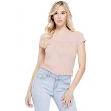 GUESS tričko Moe Logo Mesh Tee pink gloss vel. XL