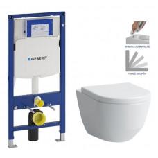GEBERIT - SET Duofix pro závěsné WC 111.300.00.5 bez ovládací desky + WC LAUFEN PRO + SEDÁTKO (111.300.00.5 LP3)