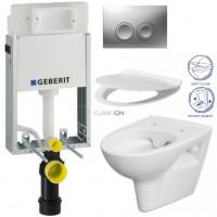 GEBERIT - SET KOMBIFIXBasic včetně ovládacího tlačítka DELTA 21 MAT pro závěsné WC CERSANIT CLEANON PARVA + SEDÁTKO (110.100.00.1 21MA PA2)