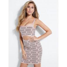 GUESS šaty Latisha Logo Mirage Bandage Dress nude vel. S