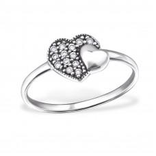 OLIVIE Stříbrný prsten 2 srdíčka 0719 Velikost prstenů: 6 (EU: 51 - 53)