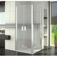 SanSwiss SL2 0800 50 44 Sprchové dveře dvoukřídlé 80 cm, aluchrom/cristal perly