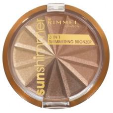 Rimmel London Sun Shimmer 3in1 Shimmering Bronzer 9,9g - 002 Bronze Goddess