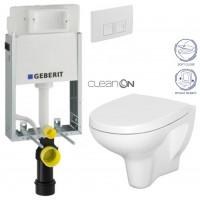 GEBERIT - SET KOMBIFIXBasic včetně ovládacího tlačítka DELTA 50 Bílé pro závěsné WC CERSANIT ARTECO CLEANON + SEDÁTKO (110.100.00.1 50BI AT1)