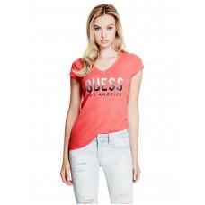 GUESS tričko Carai Glitter Logo Tee červené vel. XS